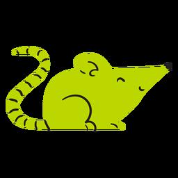 Ratón verde lindo plano