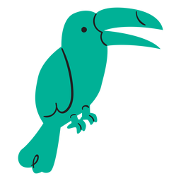 Flacher grüner Papagei