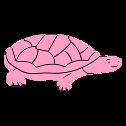 Flat pink smiling turtle