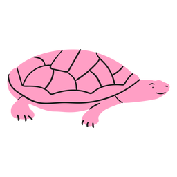 Tartaruga sorridente rosa plana