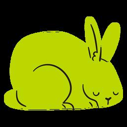 Coelho verde dormindo plana