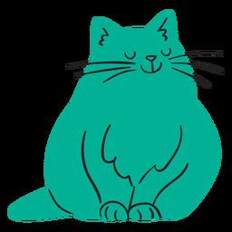 Flache lächelnde grüne Katze sitzend