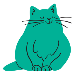 Flat smiling green cat sitting