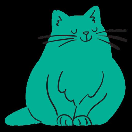 Flat smiling green cat sitting Transparent PNG