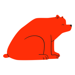 Flat smiling sitting red bear