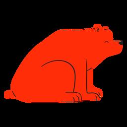 Oso rojo sentado sonriente plana