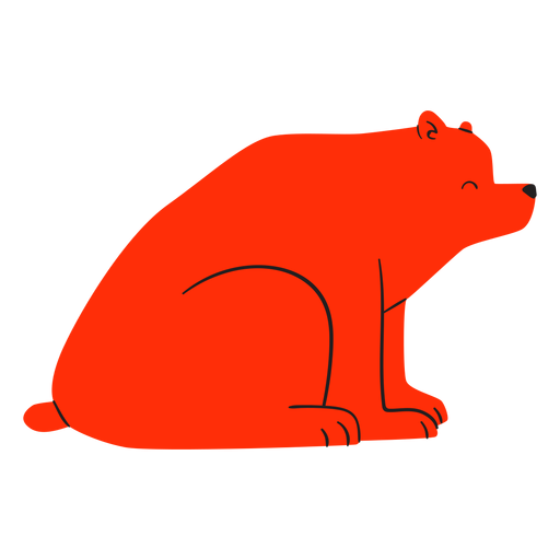 Flat smiling sitting red bear Transparent PNG
