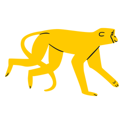 Flacher gelber Affe, der kriecht