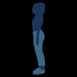 Menina mulher perfil azul duotone
