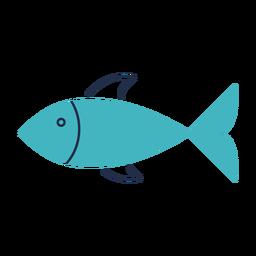 Ilustração plana de peixe verde