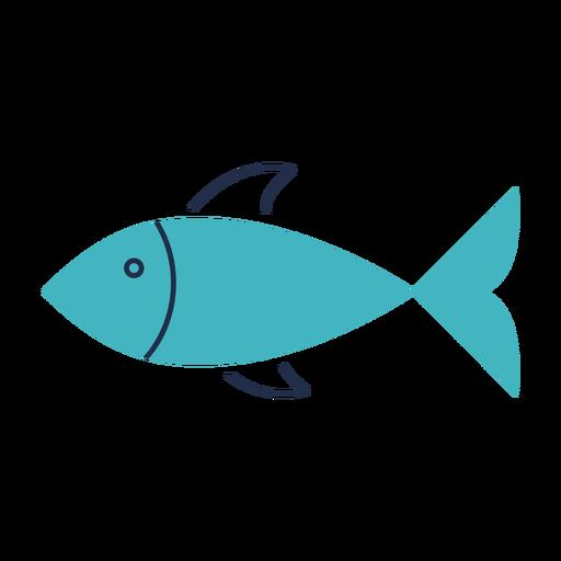 Ilustración plana de pescado verde