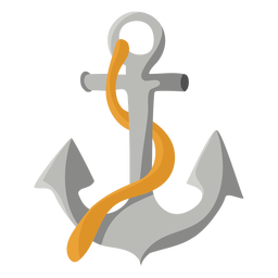 Grey ship anchor rope illustration flat