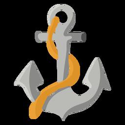 Ilustración de cuerda de ancla de barco gris plana