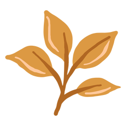 Hand drawn glossy brown leaves branch