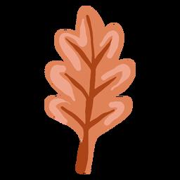 Folha de carvalho marrom brilhante desenhada de mão
