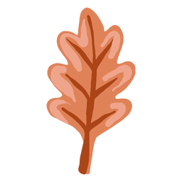 Hand drawn glossy brown oak leaf