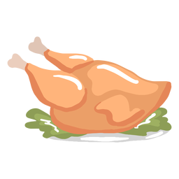 Hand drawn glossy cooked turkey dinner