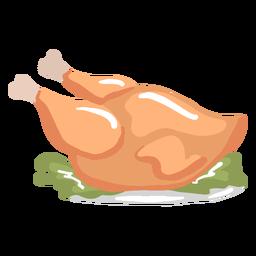 Jantar de peru cozido brilhante desenhado à mão