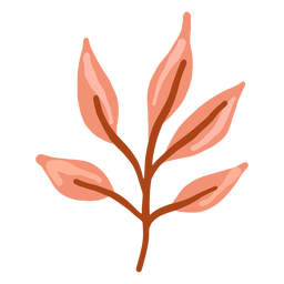 Hand drawn glossy red leaves branch