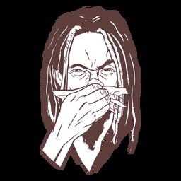 Dibujado a mano hombre rastas trazo de estornudo