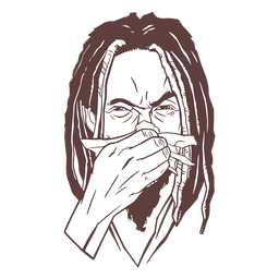Hand drawn man dreadlocks sneeze stroke