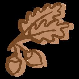 Carvalho de traçado de mão desenhada deixa bolota