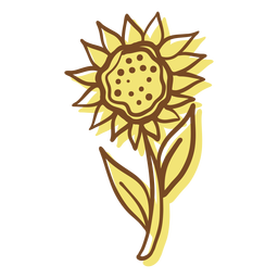Hand drawn stroke sunflower