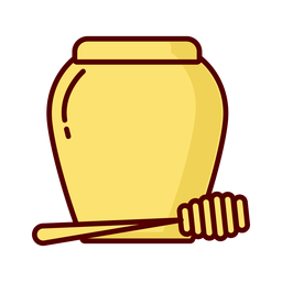 Honey jar dipper flat illustration icon