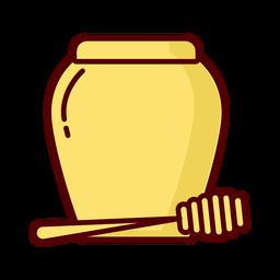 Ícone de ilustração plana mel jarra dipper