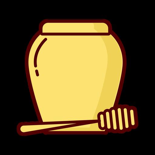 Honey jar dipper flat illustration icon Transparent PNG