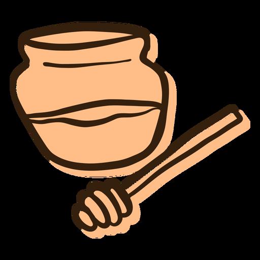 Honey jar dipper hand drawn Transparent PNG