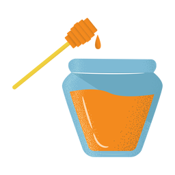 Honey jar dipper icon flat textured