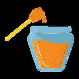 Icono de cazo tarro de miel con textura plana