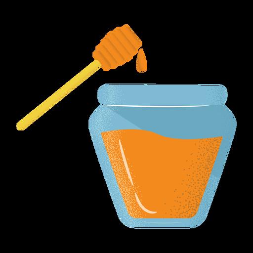 Honey jar dipper icon flat textured Transparent PNG