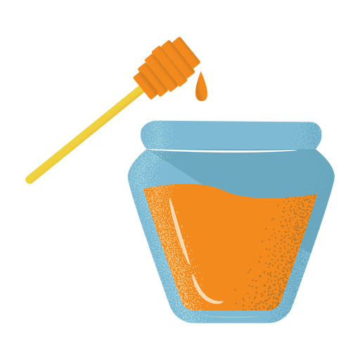 Icono de cazo de tarro de miel con textura plana Transparent PNG