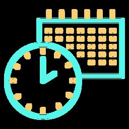 Icono de trazo de calendario de reloj