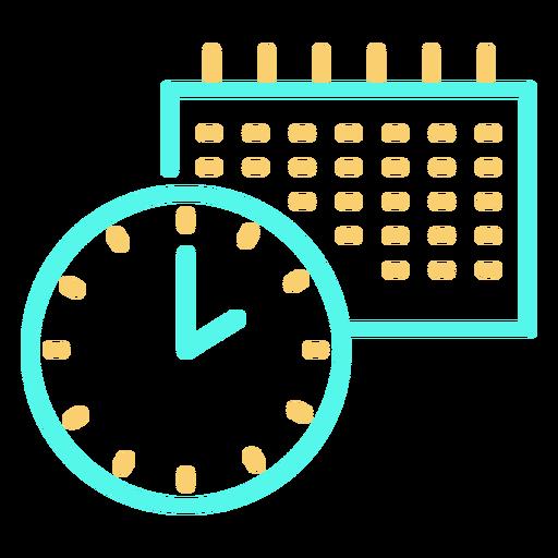 Icono de trazo de calendario de reloj Transparent PNG