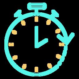 Icono de trazo de flecha circular de cronómetro