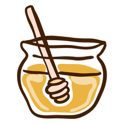Jar honey dipper hand drawn