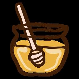 Tarro de miel cazo dibujado a mano