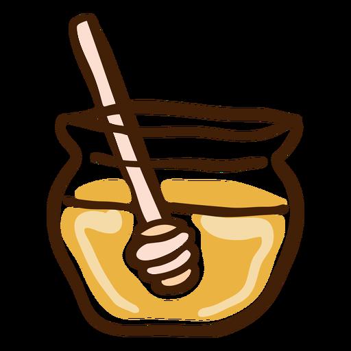 Jar honey dipper hand drawn Transparent PNG