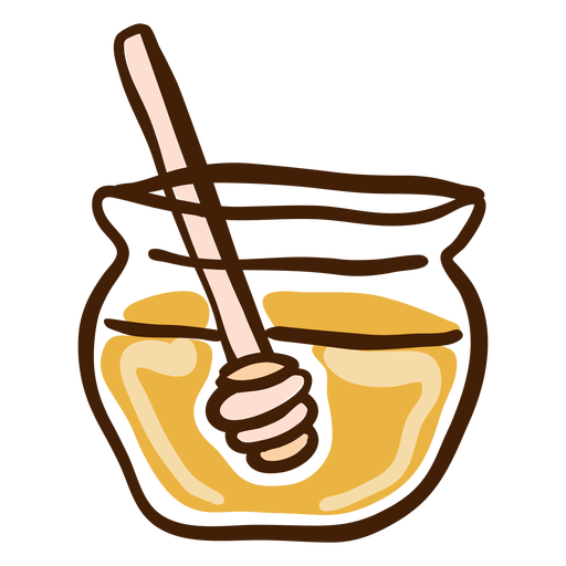 Tarro miel cazo dibujado a mano