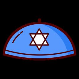 Blaue Illustration des jüdischen Kippah-Hutes