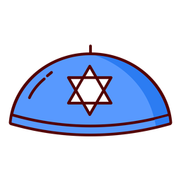 Kippah jewish hat blue illustration