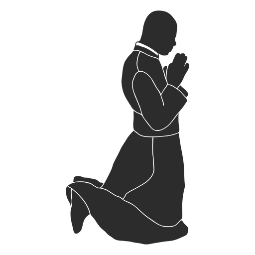 Kneeling praying profile priest clergy stencil Transparent PNG