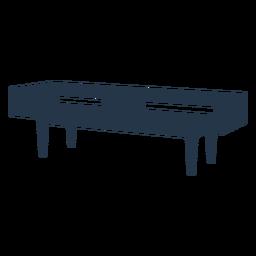 Perspectiva de silueta de mesa de centro rectangular larga