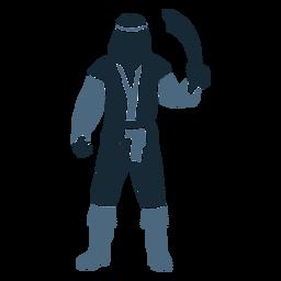 Machete pirata masculino de pie posando duotono azul