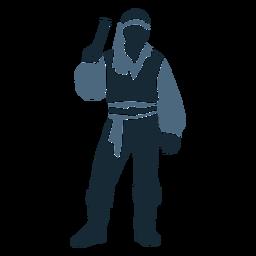 Arma pirata macho de pie posando duotono azul
