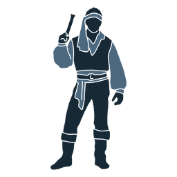 Pistola pirata masculina de pie posando duotono azul