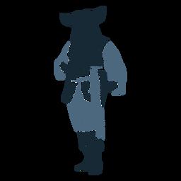 Hombre pirata de pie posando duotono azul